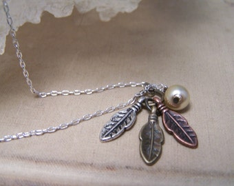 Three Feather Necklace