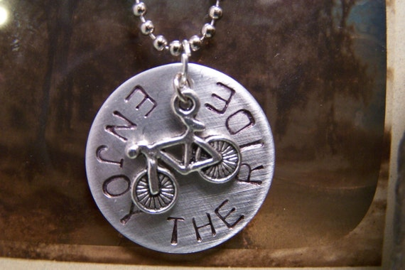 Enjoy the Ride hand stamped necklace with bicycle charm