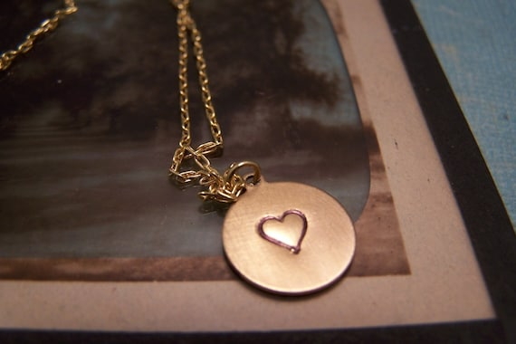 Heart Necklace Stamped in Brass