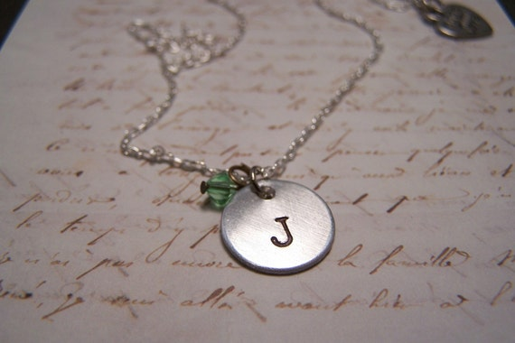 Custom Initial and Birthstone Necklace