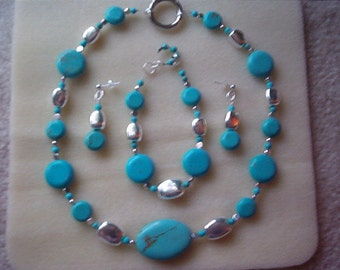 turquoise and silver necklace bracelet earring set