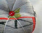 Eames era Grey and Red Vintage Fabric Pin Cushion