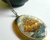 Nautical ship necklace. Large pendant on antiqued brass chain.