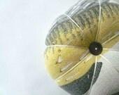Grey and Yellow Eames Era Mod Barkcloth Pin Cushion