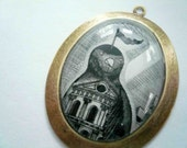 Black bird necklace. The Bird Bank. Large pendant art Necklace. One of a kind.
