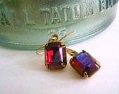 Red garnet earrings. Vintage faux ruby glass pendants on new 14K gold fill ear wires.