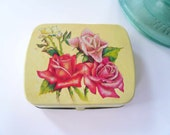 Yellow tin box. Vintage yellow and pink flowered box. Upgraded gift box.