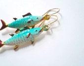 SHARK WEEK. Blue fish earrings. Fun vintage fish pendants on 14K gold fill earwires.