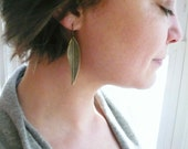 Bronze feather earrings. Long olive feather or leaf earrings.
