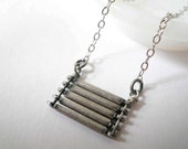 Industrial stacked bar necklace. Sterling silver necklace chain with brushed antiqued silver lines. Custom length.