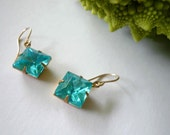 Blue aquamarine earrings. March birthstone. Vintage glass squares set in brass foil. Hung on new 14K gold fill ear wires.