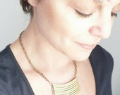 Military necklace. Large vintage brass bars. Larger statement size on large linked brass chain.