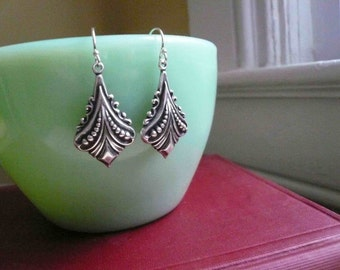 Silver art deco earrings on sterling silver ear wires.
