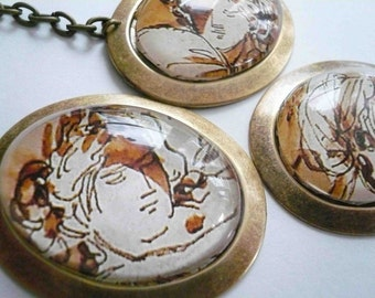Romantic sepia necklace. One of a kind portrait statement necklace. Large oval necklace in antiqued brass.