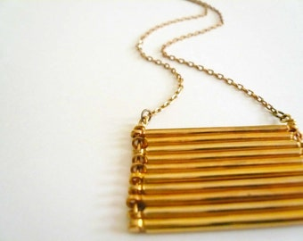 Large gold necklace Vintage brass necklace Straight bar necklace Military necklace Geometric necklace Gold statement necklace Big necklace