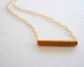 Simple gold necklace Small vintage textured brass bar 14K gold fill (GF) chain Dainty jewelry Feminine gold necklace Custom length necklace