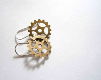 Gold bike gear earrings Tour de France jewelry Bicycle dangles Jewelry gift for a cyclist Small dangles Sterling silver or 14KGF earwires