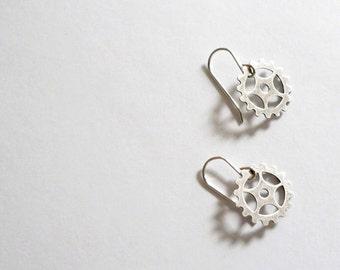 Bike gear earrings Silver earrings Watch gear dangles Steampunk earrings Bicycle earrings Gift for bike lover Gift for cyclist Bike earrings