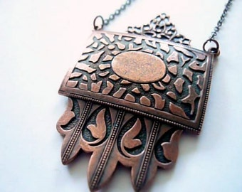 Art deco necklace. Large vintage copper shield on new antiqued brass chain. Custom length. Copper Jewelry.