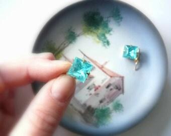 Blue aquamarine earrings March birthstone earrings Blue earrings Vintage blue glass earrings Square dangles Gold fill earrings Gold earrings