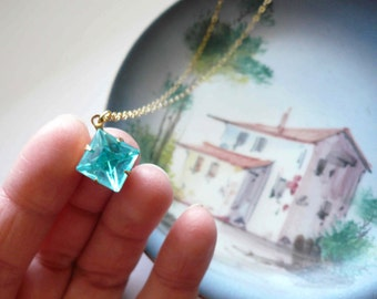 Aquamarine necklace Blue necklace March birthstone necklace Vintage necklace Blue glass necklace Square necklace Aqua brass gold necklace