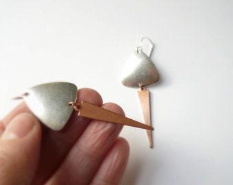 Silver earrings. Copper arrow with silver shield on sterling silver .925 ear wires. Fringe tribal jewelry.