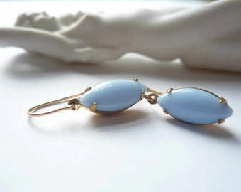 Periwinkle blue earrings. Vintage glass navettes on 14K gold fill ear wires.