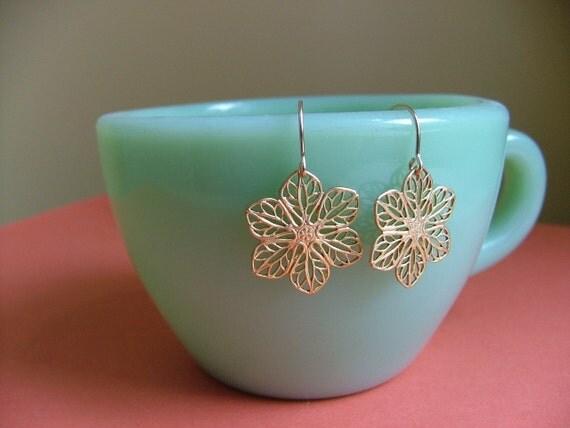 Gold flower earrings. Gold filigree earrings. Flower dangles. Everyday earrings. 14K gold fill ear wires. Romantic gift for girlfriend.