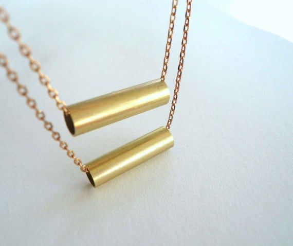 Mod gold necklace. Layered necklace. Gold bar necklace. Vintage necklace findings. New raw brass chain.
