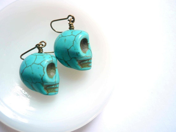 Turquoise blue skull earrings. Spooky Halloween Day of the Dead Jewelry.