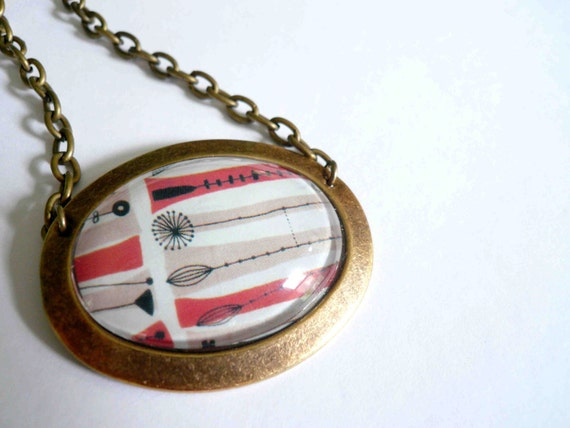 Mid Century Modern Necklace. Large glass OOAK pendant on antiqued brass chain.