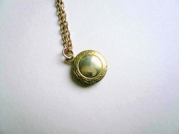 Small gold locket necklace with etched detail 14K GF chain. Vintage brass locket on new drawn cable chain.