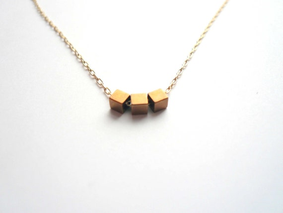 Small gold necklace. Tiny cubes. 14K gold fill chain. Dainty gold necklace. Geometric necklace. Delicate gold necklace. Gift for girlfriend.