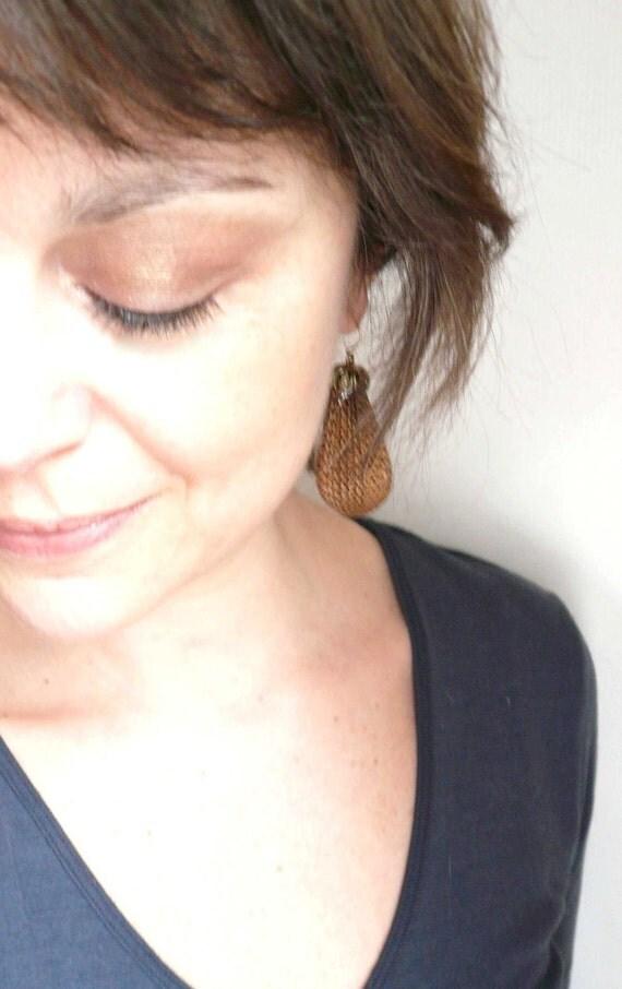 Large brass earrings. Vintage large filigree pear ear pendants in antiqued brass.