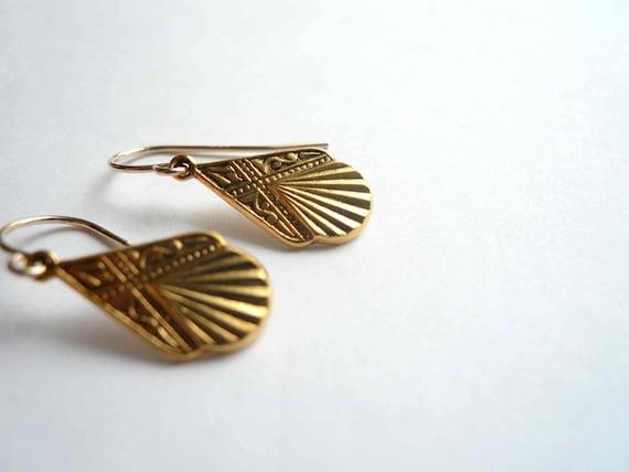 Gold art deco earrings. Petite 1920s pendants on 14K gold fill ear wires. Silver earrings also available.