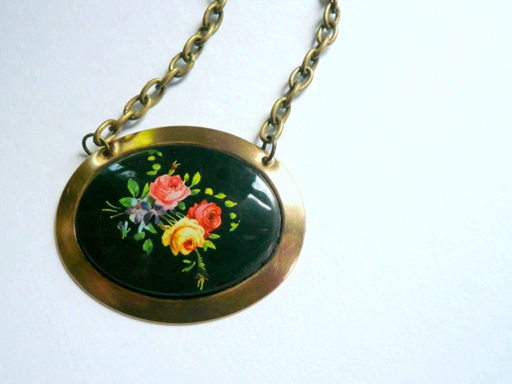 Spring flowers Victorian necklace Black necklace Yellow red rose necklace Garden lover gift Large necklace Feminine necklace Custom length