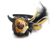 Flapper Flower Fascinator Black and Yellow Headband with Feathers - Ready to Ship