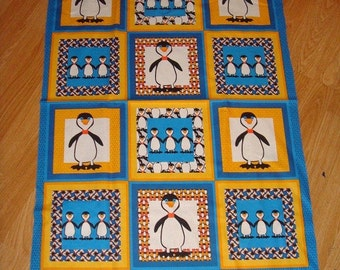 1 PANEL of Lindsey's Penguin by Andover Fabrics Penguin block fabric