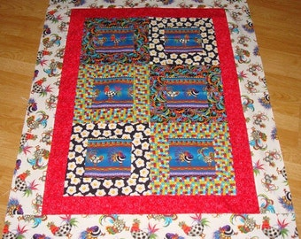 WILD ROOSTERS Handmade Quilt Top 35 x 45