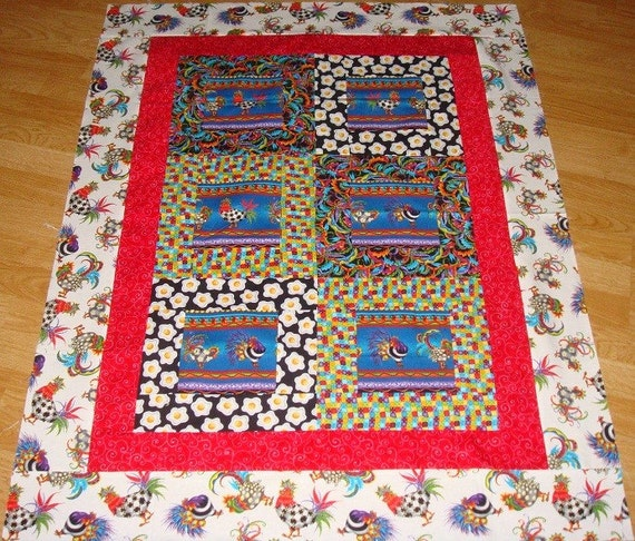 WILD ROOSTERS Handmade Quilt Top 35 x 45