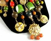SALE 20% OFF Moon & Sun Bakelite Necklace Artisan Beads Carved Chunky