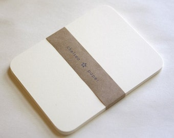 "Natural White Round Corner Flat Cards(3.5""x5"") for 4 Bar 25/Pk"