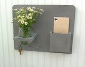 Distressed Gray Handmade LETTER Key MASON Jar Flower Holder