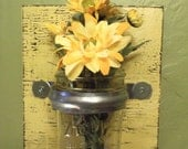 Wall Sconce, Wall VASE, Distressed Primitive Wall Vase, Yellow Sconce