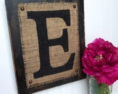Wooden letter jute tacked distressed wood sign