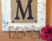 Mongram wall hooks burlap letter M white wall hanging You choose letter and color