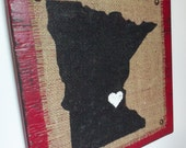 MINNESOTA Burlap RED wood wall sign Custom state sign wood colors