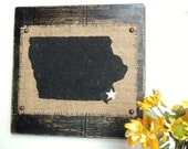 IOWA wood Burlap wall sign Black Your choice state and city, heart or star