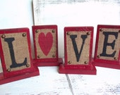 Cottage LOVE decor burlap sign, wood monogram letters, heart, custom and personalized, red