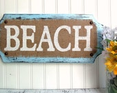 BEACH, BURLAP cottage, blue, white, coastal cabin mantel wall sign